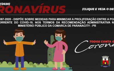Decreto n.º 087-2020 – Dispõe sobre medidas para minimizar a proliferação entre a população municipal decorrente do COVID-19