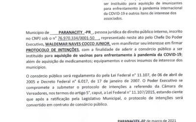 Paranacity assina Manifestação de Interesse de Adesão ao Consórcio Público, para aquisição de vacinas contra o COVID-19