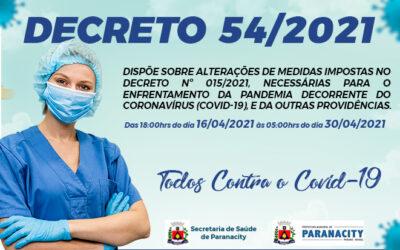 Decreto 54/2021 – Medidas necessárias para o enfrentamento da pandemia decorrente do coronavírus.