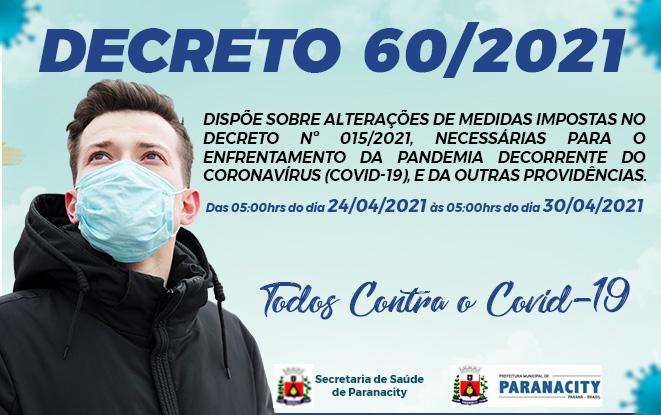 Decreto 60/2021 – Medidas necessárias para o enfrentamento da pandemia decorrente do coronavírus.