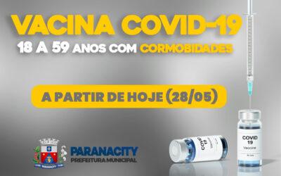 Vacinação contra a Covid-19, para às pessoas de 18 a 59 anos COM COMORBIDADES